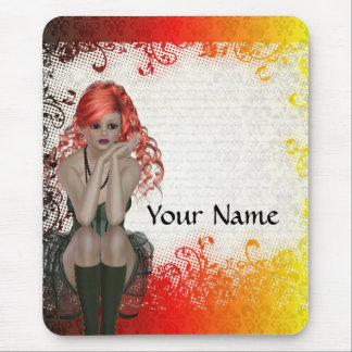 Red headed goth girl mouse mat