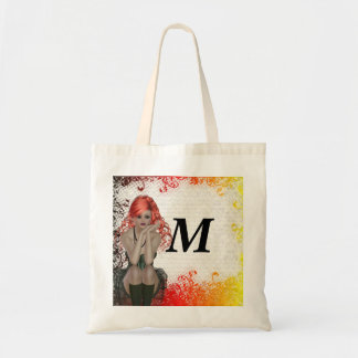 Red headed goth girl tote bag