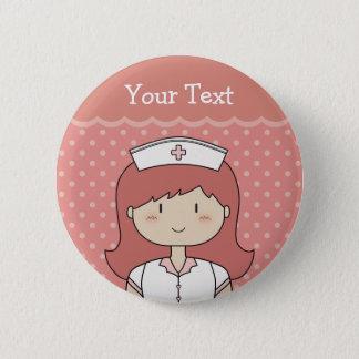 Red-Headed Nurse 6 Cm Round Badge