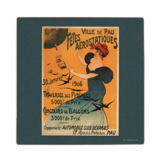 Red-Headed Woman Awaits Balloons Birds Poster Wood Coaster