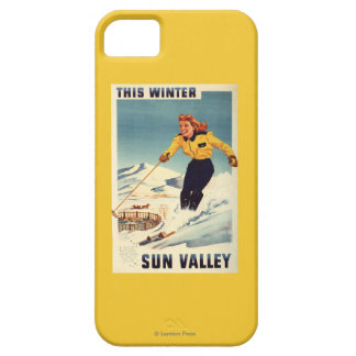 Red-headed Woman Smiling and Skiing Poster Barely There iPhone 5 Case