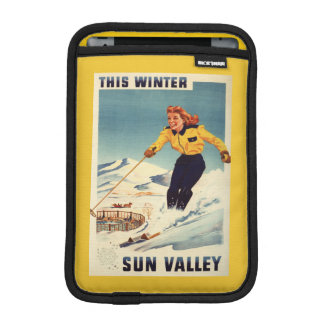 Red-headed Woman Smiling and Skiing Poster iPad Mini Sleeve
