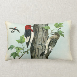Red-Headed Woodpeckers Nature Antique Tree Lumbar Cushion