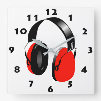 RED HEADPHONES WITH BLACK NUMBERS SQUARE WALL CLOCK
