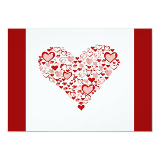 red heart, 13 cm x 18 cm invitation card