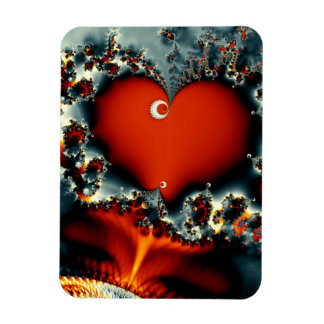 red heart abstract design fractal rectangular photo magnet