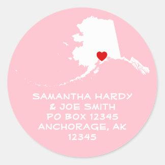 Red Heart Alaska Address Classic Round Sticker
