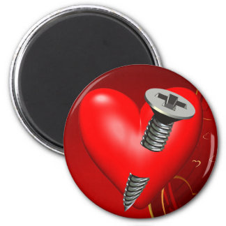Red Heart and Screw Refrigerator Magnet