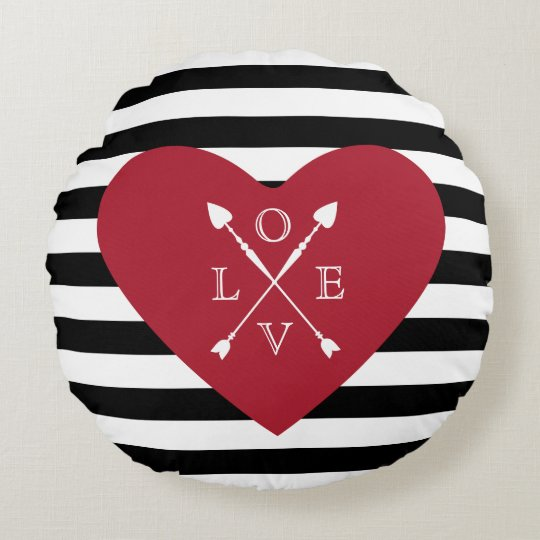 Red Heart And Stripes Round Cushion