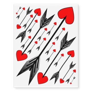 Red Heart Arrow Temporary Tattoos