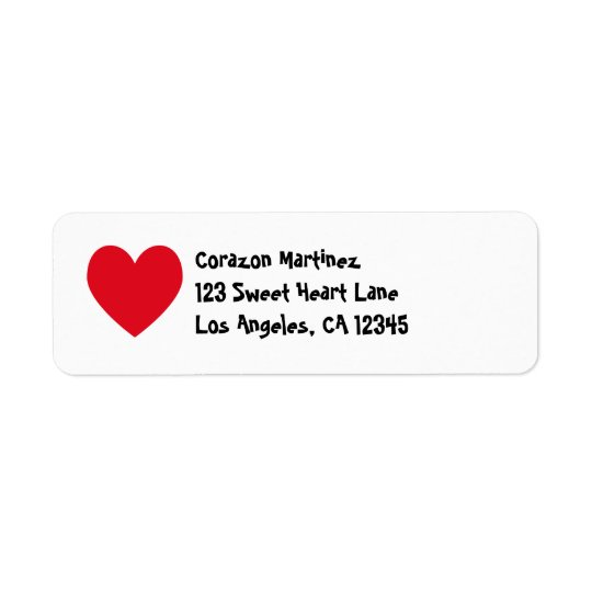Red Heart Avery Label Return Address Label
