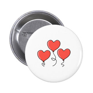 Red Heart Balloons. 6 Cm Round Badge