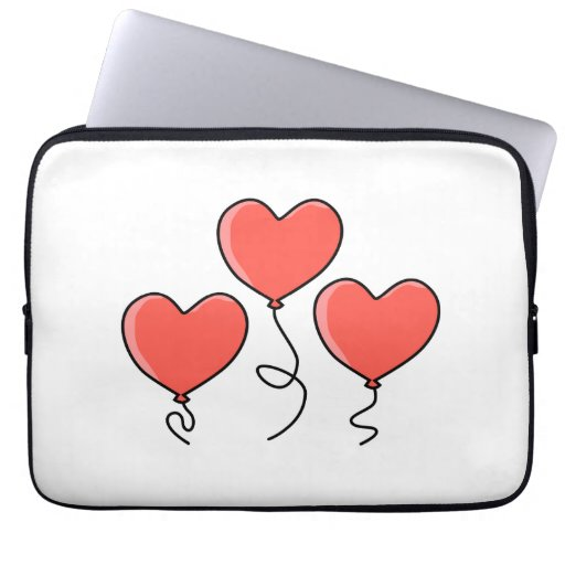 Red Heart Balloons. Laptop Computer Sleeves
