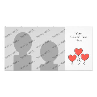 Red Heart Balloons. Personalized Photo Card