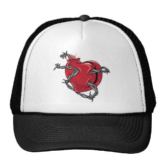 Red Heart Barbed Wire Love Hearts Hat