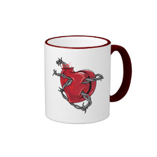 Red Heart Barbed Wire Love Hearts Coffee Mug