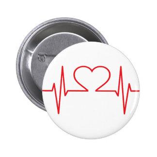 Red Heart Beat Line 6 Cm Round Badge