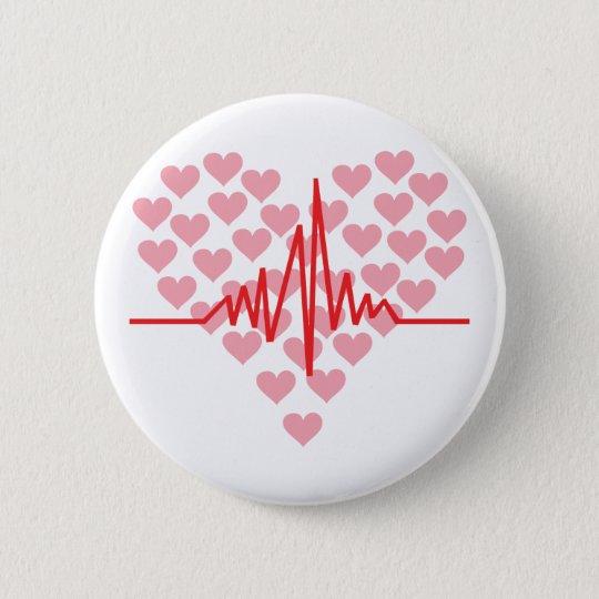 red heart beat retro 6 cm round badge