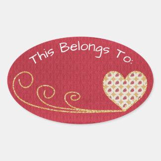Red Heart Belongs To Oval Sticker
