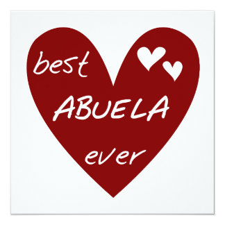 Red Heart Best Abuela Ever T-shirts and Gifts 13 Cm X 13 Cm Square Invitation Card