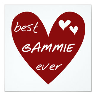 Red Heart Best Gammie Ever Tshirts and Gifts 13 Cm X 13 Cm Square Invitation Card