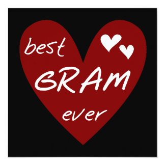Red Heart Best Gram Ever Tshirts and Gifts 13 Cm X 13 Cm Square Invitation Card