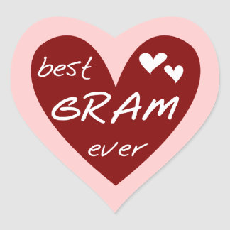 Red Heart Best Gram Ever Tshirts and Gifts Heart Sticker