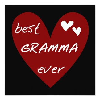 Red Heart Best Gramma Ever T-shirts and Gifts 13 Cm X 13 Cm Square Invitation Card