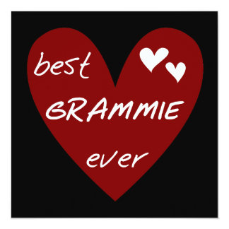"Red Heart Best Grammie Ever T-shirts and Gifts 5.25"" Square Invitation Card"