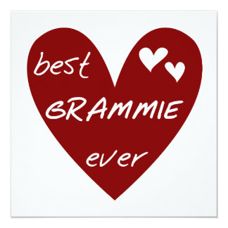 Red Heart Best Grammie Ever T-shirts and Gifts 5.25x5.25 Square Paper Invitation Card