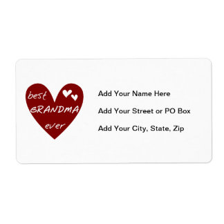 Red Heart Best Grandma Ever T-shirts and Gifts Shipping Label