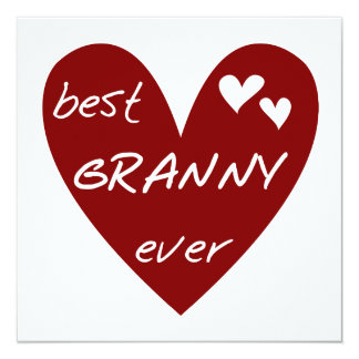 Red Heart Best Granny Ever Tshirts and Gifts 13 Cm X 13 Cm Square Invitation Card