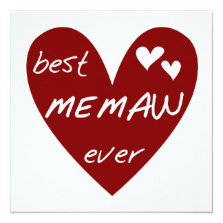 Red Heart Best Memaw Ever T-shirts and Gifts 13 Cm X 13 Cm Square Invitation Card