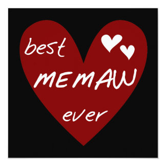 "Red Heart Best Memaw Ever T-shirts and Gifts 5.25"" Square Invitation Card"