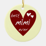 Red Heart Best Mimi Ever Tshirts and Gifts Ornaments