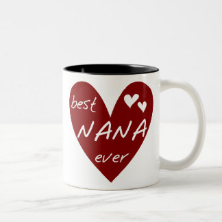 Red Heart Best Nana Ever T-shirts and Gifts Two-Tone Coffee Mug