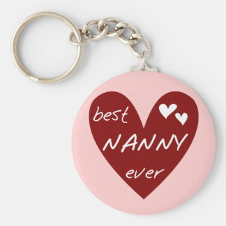 Red Heart Best Nanny Ever T-shirts and Gifts Key Ring