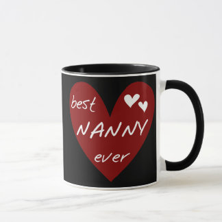 Red Heart Best Nanny Ever T-shirts and Gifts Mug