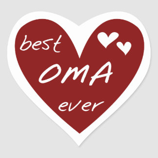 Red Heart Best Oma Ever T-shirts and Gifts Heart Sticker