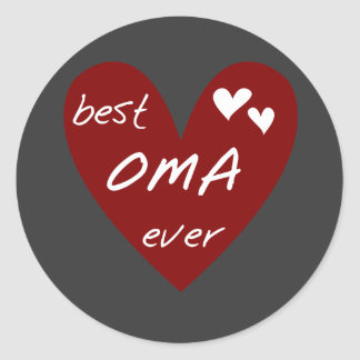 Red Heart Best Oma Ever T-shirts and Gifts Round Sticker