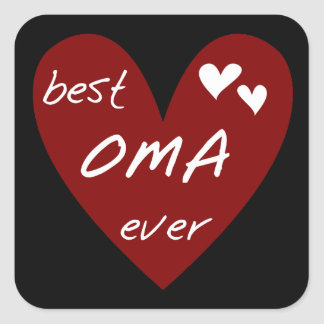 Red Heart Best Oma Ever T-shirts and Gifts Square Sticker