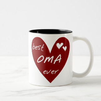Red Heart Best Oma Ever T-shirts and Gifts Two-Tone Mug