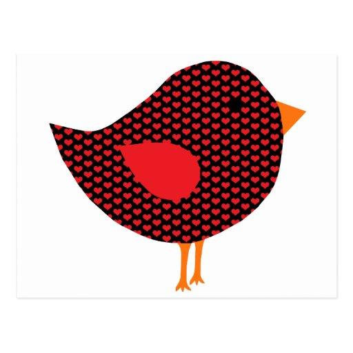 Red Heart Bird Post Card