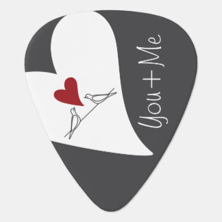 Red Heart Birds In Love Rustic Modern Personalized Guitar Pick