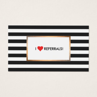 Red Heart Black and White Stripes Salon Referral Business Card