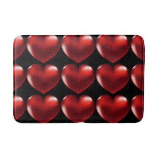 Red Heart Black Back Ground Red Heart Bath Mat