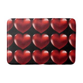 Red Heart Black Back Ground Red Heart Bath Mat Bath Mats