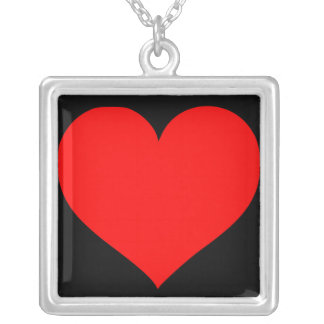 Red Heart Black Background Necklace