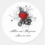 Red Heart Black Swirls Sticker