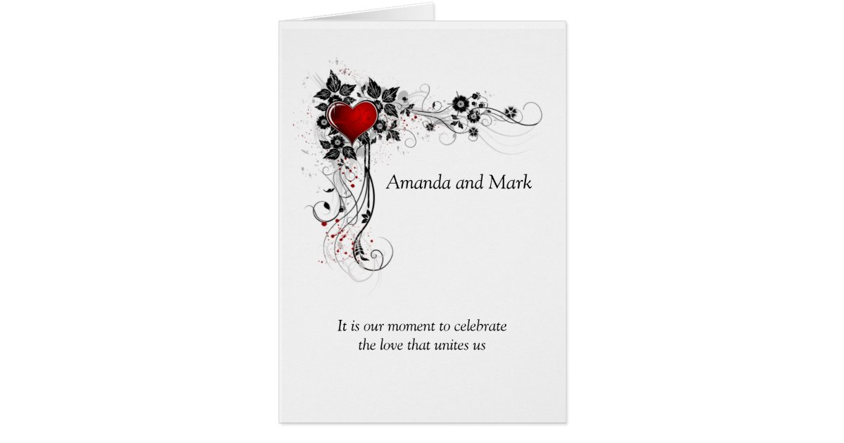Heart Wedding Invitations Uk: Red Heart Black Swirls Wedding Invitation